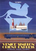 Venice Simplon Orient Express, Venice. VSOE Vintage Travel Poster by Pierre Fix-Masseau. 1979